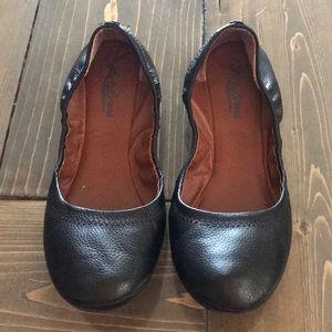 Lucky Brand Black Leather Ballet  Flats Sz 8.5